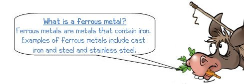 Wonkee Donkee says: 'What is a ferrous metal? Ferrous metals are metals that contain iron. Examples of ferrous metals include cast iron and steel and stainless steel.'
