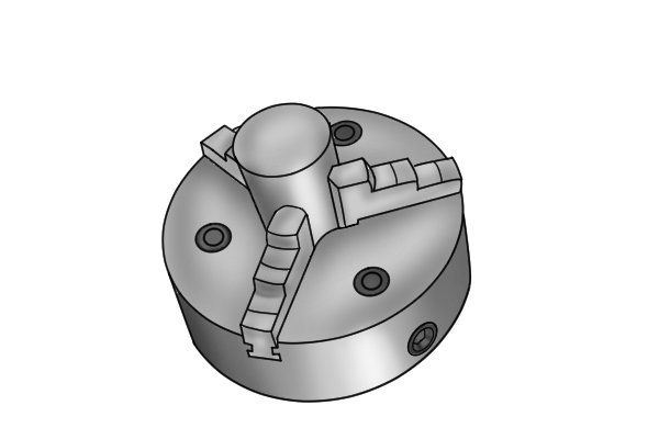 A lathe chuck clamped to the table of your machine can be used to hold round or irregularly shaped parts. The four jaws of the chuck work together to secure the part to the machine.