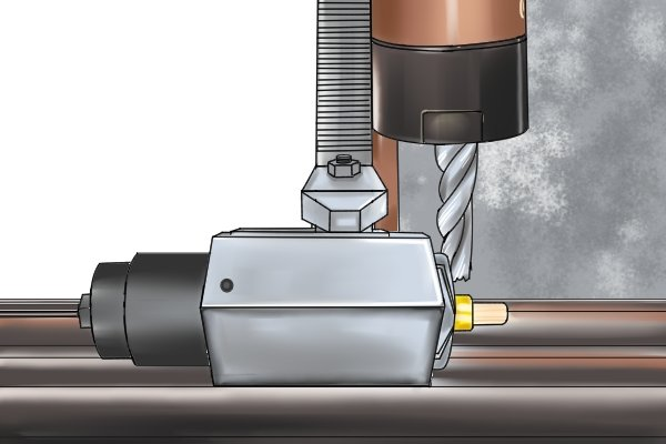 If you are using a horizontal milling machine, a collet, with a collet block, can be used to grip a round workpiece. The mechanical holding force of the collet is distributed around the whole part so the workpiece is held very securely, to ensure accurate machining.