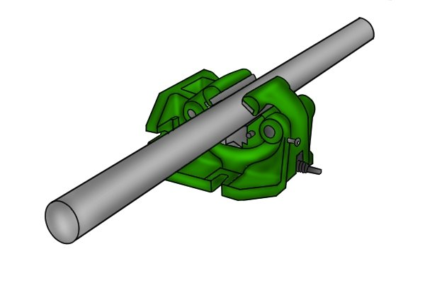 A self-centring vice can be used on a milling machine or drill press to hold shafts and round workpieces. Its v-shaped jaws help to hold cylindrical parts tightly in place.