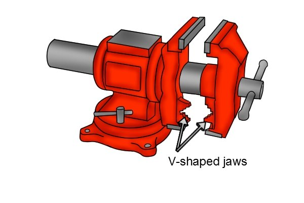 The movable jaw of a utility vice has a vertical 'v' groove for holding round workpieces.