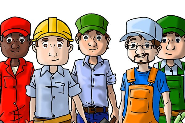 various wonkee donkee characters in the building trades