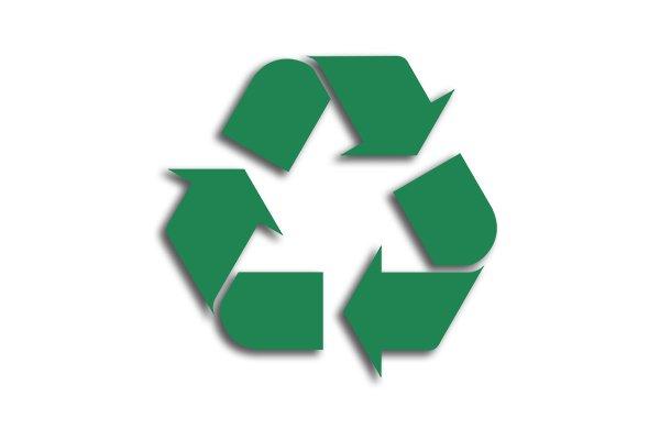 recycling symbol, three green arrows