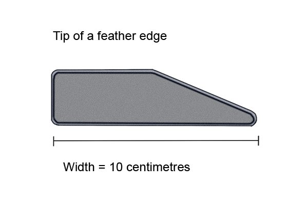 height of feather edge approximately 10cm