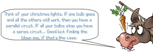 Think of your christmas lights. If one bulb goes and all the others still work, then you have a parallel circuit. If all your bulbs stop you have a series circuit... Good luck finding the blown one, if thats the case.