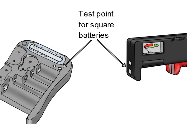 square battery slot on battery tester