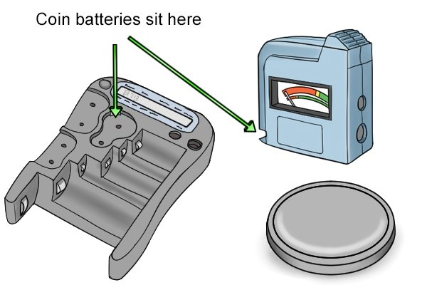 coin battery slots on battery testers