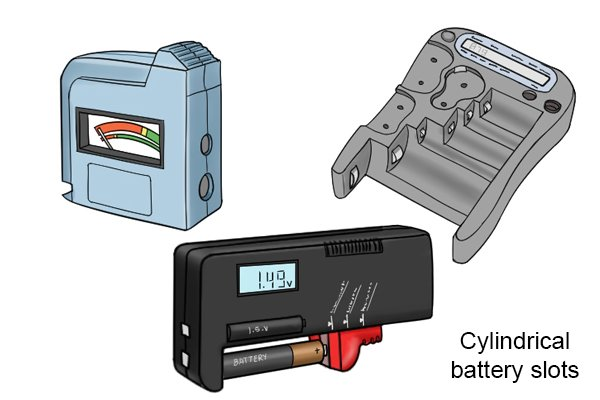 cylindrical slots on battery testers