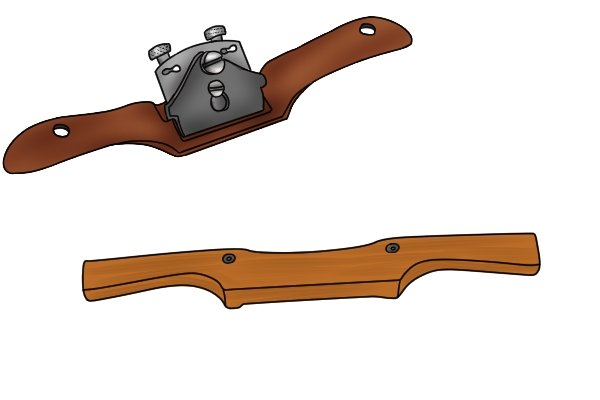 metal and wooden spokeshave