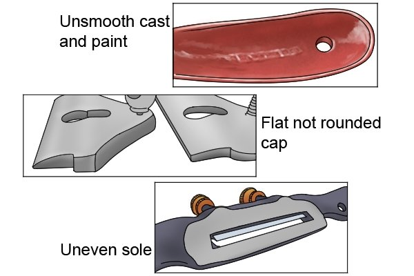 uneven, unsmooth and non-rounded spokeshaves