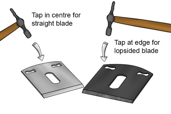 tapping spokeshave blade with hammer