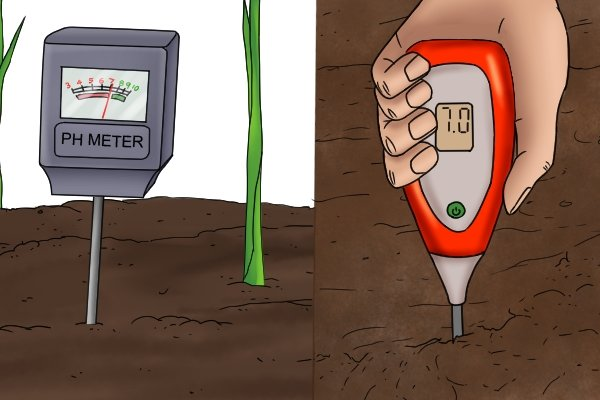 analogue and digital soil pH meters in use