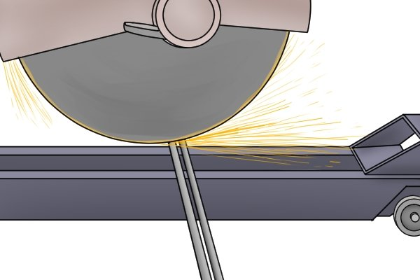 sawing metal with sparks