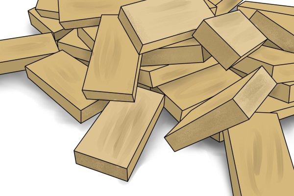 scrap wood, blocks of scrap wood, wood scraps, waste wood, reclaiming wood, blocks of wood,