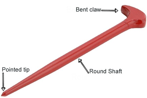 standard pry bar, red crowbar, labeled pry bar, labeled crowbar, crowbar, pry bar,