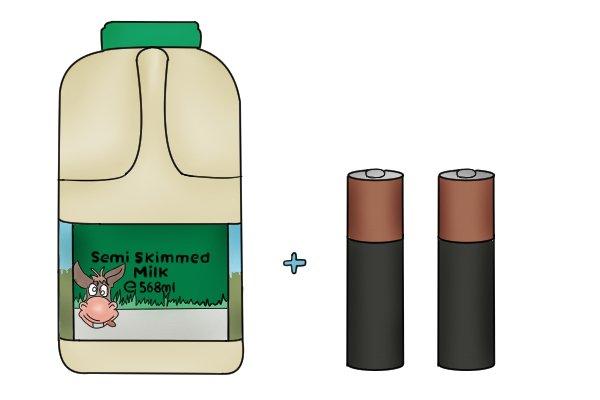 batteries, battery, milk