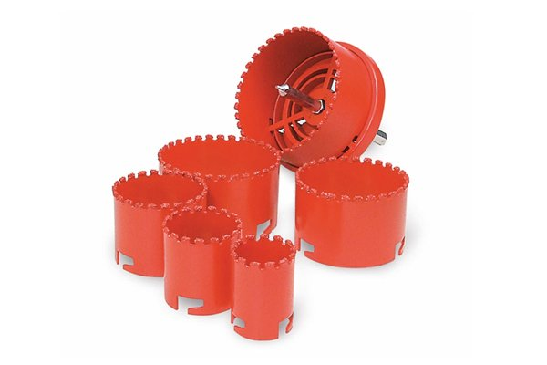 Gulleted hole saw, Tungsten Carbide Holesaw Kit Set of 6 Gulleted 6 piece holesaw set cuts most materials fast including brick , fibreglass, slate, marble, cement board, laminates, MDF, plywoods and cast iron. Set comprises of 31mm, 41mm, 53mm, 65mm, 73 mm and 83 mm.