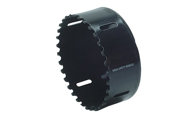 Tungsten carbide grit, Gulleted hole saw, Tungsten Carbide Holesaw Kit Set of 6 Gulleted 6 piece holesaw set cuts most materials fast including brick , fibreglass, slate, marble, cement board, laminates, MDF, plywoods and cast iron. Set comprises of 31mm, 41mm, 53mm, 65mm, 73 mm and 83 mm.