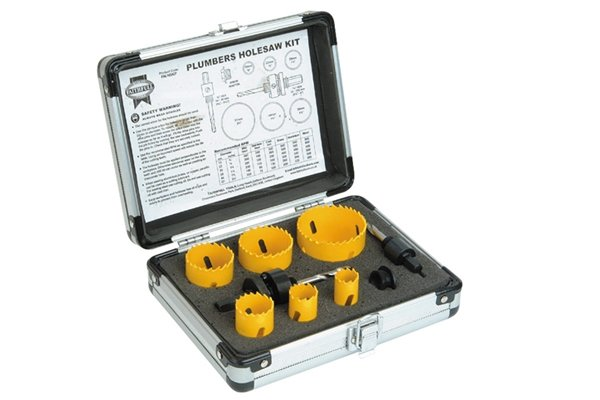 Plumbers hole saw set, Holesaw Kit Set of 9 Plumbers 19-57mm These holesaws are manufactured from bi-metal material with hardened teeth made from high speed steel, and a variable tooth pitch for fast smooth cutting. Bi-metal saws offer increased safety as they will not shatter under load. They are ideal for use on a wide variety of materials including wood, chipboard, plywoods, plasterboard, non-laminated plastics, and non-ferrous metals. Suitable for use in most variable speed power drills. Plumbers holesaw kit containing one of each: 19, 22, 29, 38, 44 and 57mm Holesaws 1 x 3/8in Hexagon arbor 1 x 7/16in Hexagon arbor 1 x Arbor adaptor Supplied in a sturdy aluminium case.