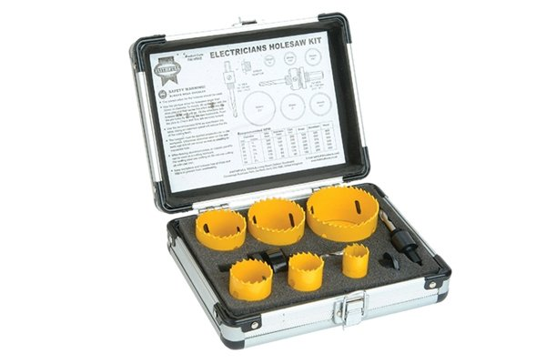 Electricians hole saw set, Holesaw Kit Set of 9 Electricians 16-51mm These holesaws are manufactured from bi-metal material with hardened teeth made from high speed steel, and a variable tooth pitch for fast smooth cutting. Bi-metal saws offer increased safety as they will not shatter under load. They are ideal for use on a wide variety of materials including wood, chipboard, plywoods, plasterboard, non-laminated plastics, and non-ferrous metals. Suitable for use in most variable speed power drills. Electricians holesaw kit containing one of each: 16, 20, 25, 32, 40 and 51mm Holesaws 1 x 3/8in Hexagon arbor 1 x 7/16in Hexagon arbor 1 x Arbor adaptor Supplied in a sturdy aluminium case.
