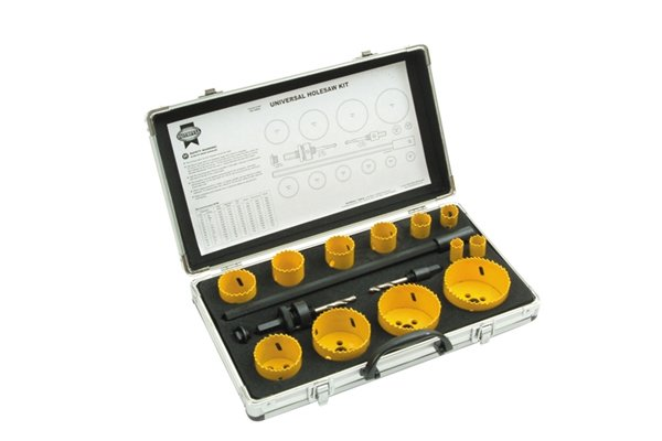 Universal hole saw set, Holesaw Kit Set of 16 Universal 16-76mm These holesaws are manufactured from bi-metal material with hardened teeth made from high speed steel, and a variable tooth pitch for fast smooth cutting. Bi-metal saws offer increased safety as they will not shatter under load. They are ideal for use on a wide variety of materials including wood, chipboard, plywoods, plasterboard, non-laminated plastics, and non-ferrous metals. Suitable for use in most variable speed power drills. Universal holesaw kit containing one of each: 16, 20, 22, 25, 32, 35, 38, 44, 51, 64, 70 and 76mm 1 x Extension 300mm 1 x 3/8in Hexagon arbor 1 x 7/16in Hexagon arbor 1 x Arbor adaptor Supplied in a sturdy aluminium case.
