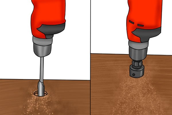 hole saw versus spade drill bit
