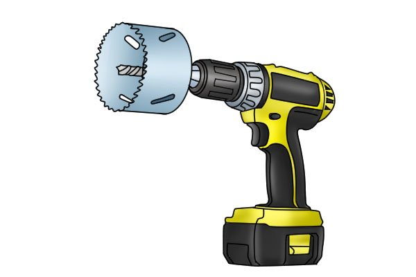 hole saw and power drill, drilling a hole