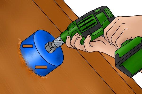 Hole saw, cutting hole in floor, drainage hole