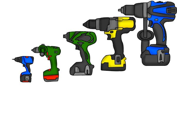 various drills, high torque, drill drivers, power tools