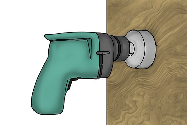 hole saw, hole cutter, drill bit, stuck in the wall, plumbing tool, cutting tools