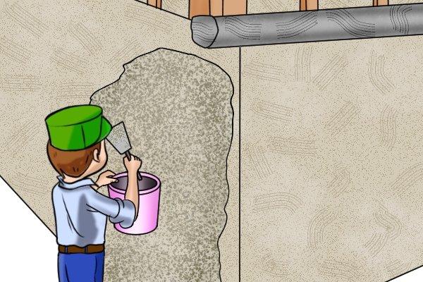 Manual coating sprayers hand-held rendering applying roughcast 6-10mm pebbles stones ideally no bigger than 20mm