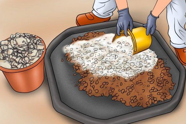 Manual coating sprayers hand-held render tyrolean roughcast pebbledash Flickatex machine Catch tray