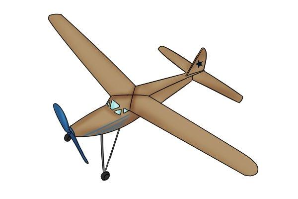 Balsa model aeroplane, hardwood, timber
