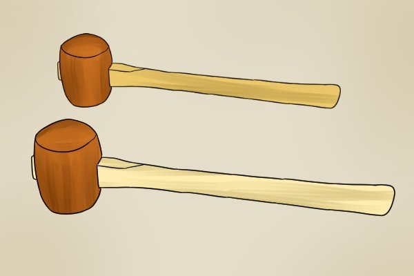 Mallets made from very hard wood, hardwood, timber