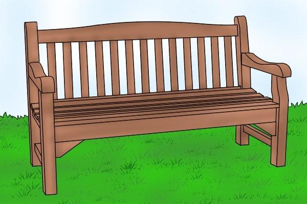 Hardwood garden bench, wood, timber, strength, durability