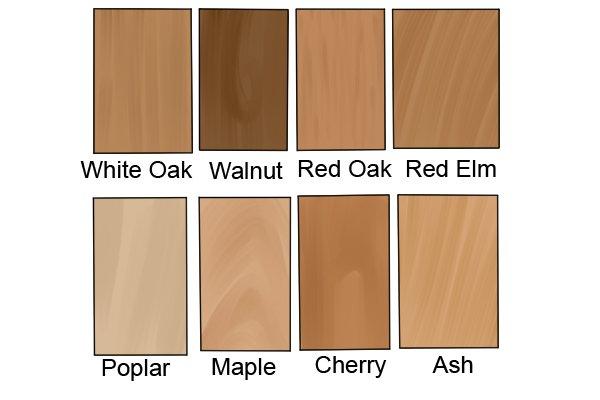 Some types of hardwood, wood, timber