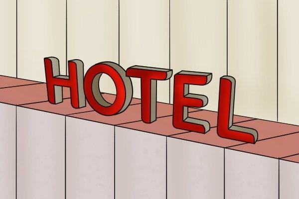 MDF hotel sign, medium density fibreboard, manufactured board, particle board