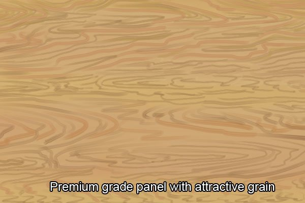 Premium grade plywood panel with attractive, complex grain