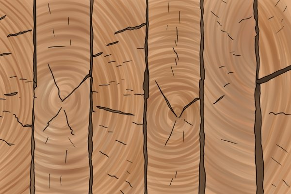 Cracked and split softwood, wood, timber
