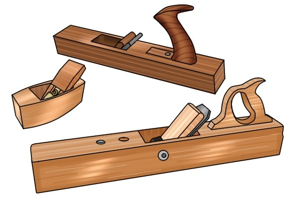 A selection of wooden bench planes