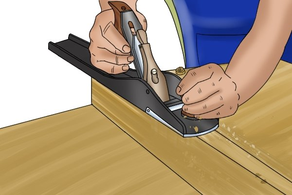 Using a woodworking hand plane