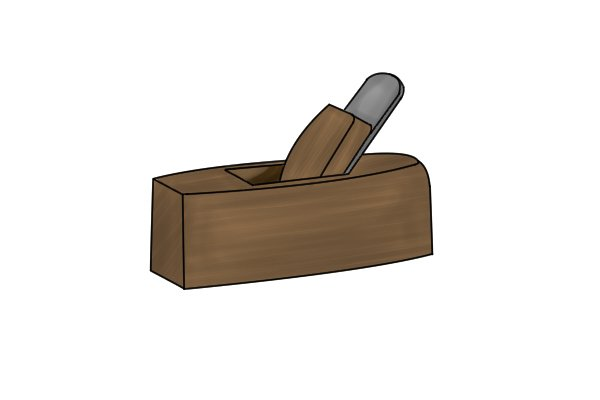 Coffin shaped wooden hand plane with no handles