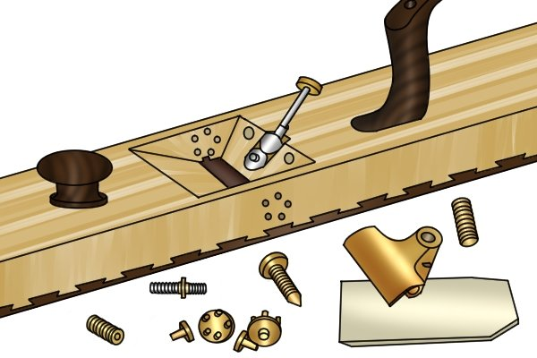 Wooden plane with metal blade adjustment system