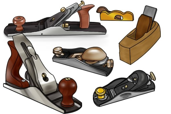 A selection of woodworking hand planes