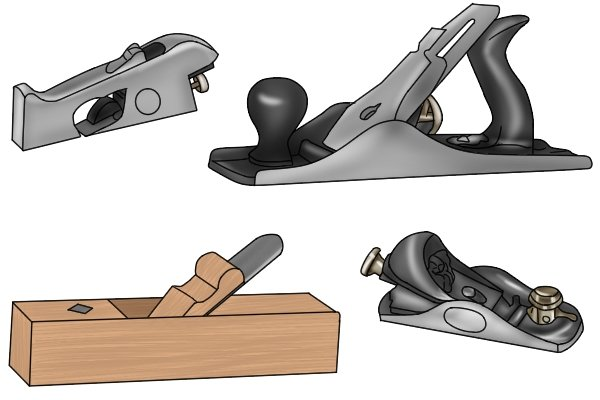 Group of different woodworking planes