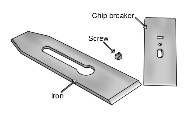 Chip breaker, iron and screw of a bench plane