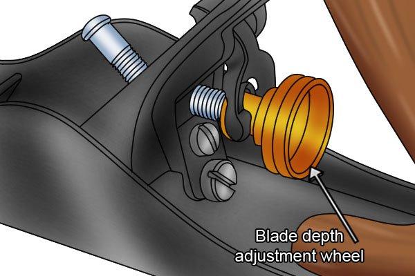 The blade depth adjustment wheel of a bench plane