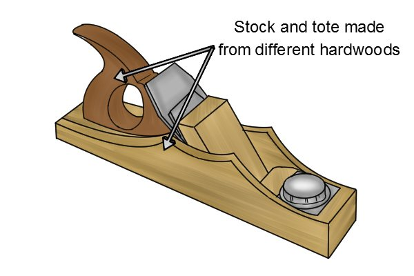 Wooden plane with stock and tote made from different hardwoods
