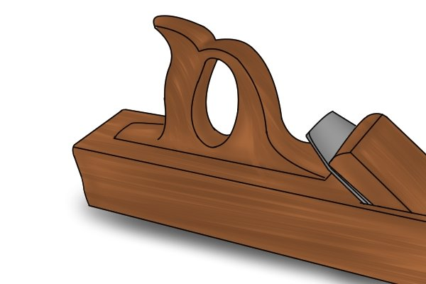 Wooden bench plane with no chip breaker or lever cap