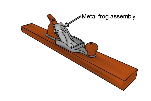 Wooden bench plane with full metal frog assembly
